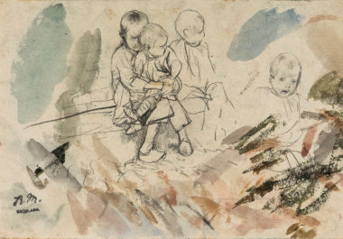 Sheet with Studies of Children