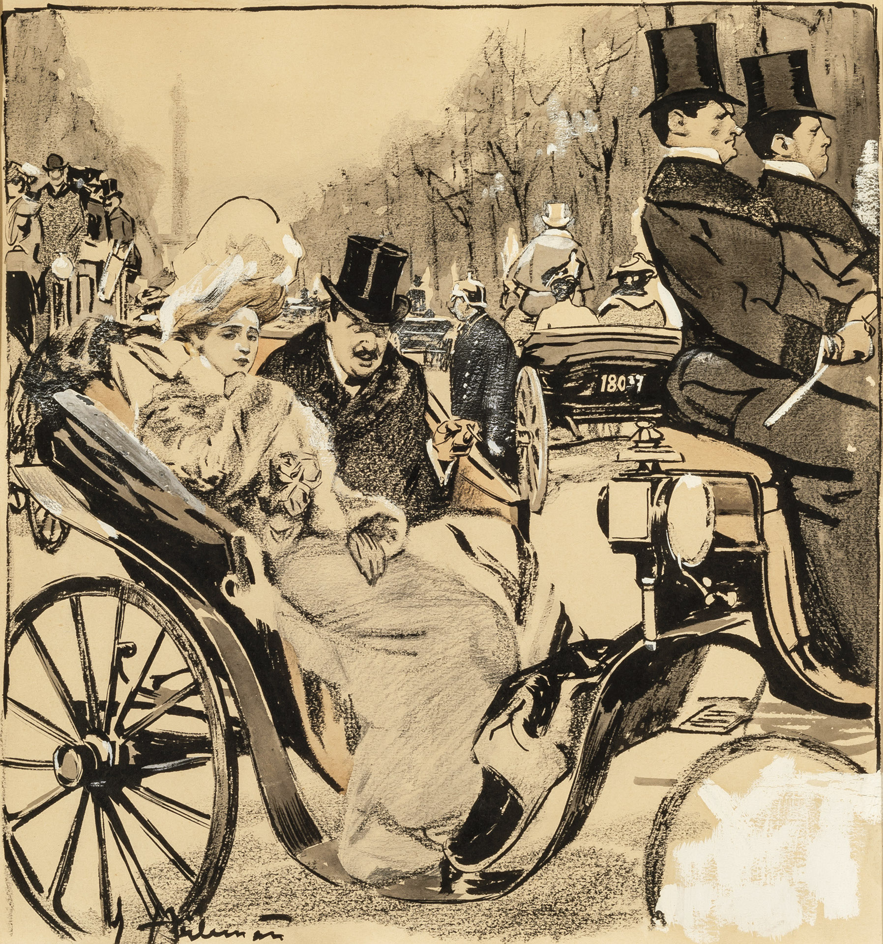 Elegant Couple in a Horse-Drawn Carriage