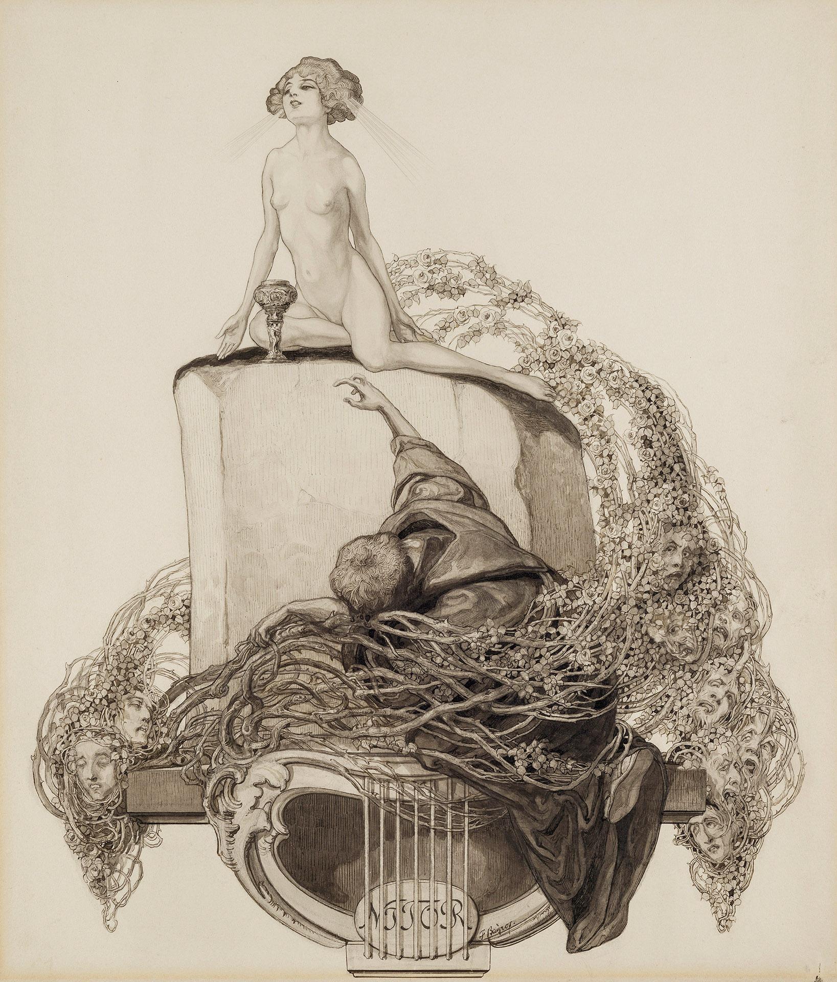 Franz von Bayros - Ex Libris Walther und Amelia Fahrenhorst