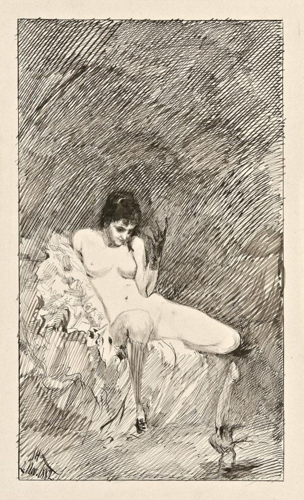 Max Klinger - Sitzende nackte Frau mit tanzendem Phallus