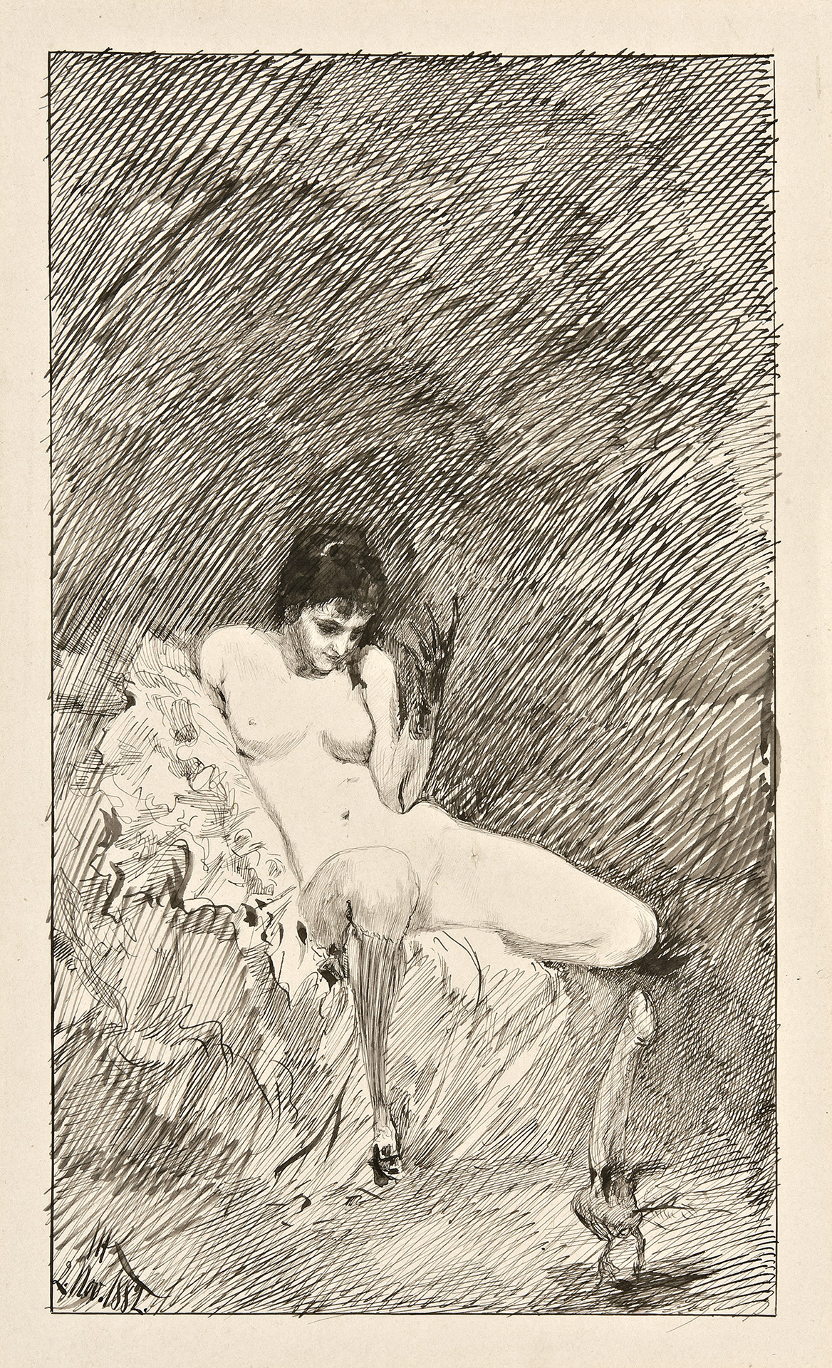 Seated Nude Woman Beckoning a Dancing Phallus
