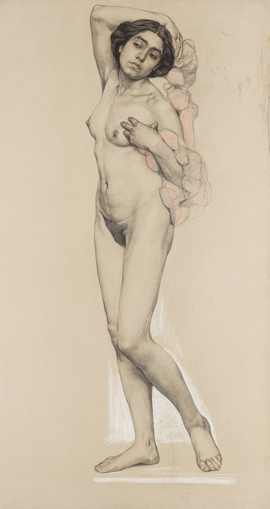 Standing Female Nude with Garland